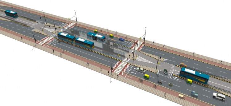 Signalised pedestrian crossings, with traffic calming measures, median refuge areas to aid safer crossing, and utility bays that separate the motor vehicle lane from the cycle tracks, are one of the models recommended in the design guidelines.